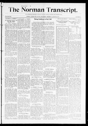 Primary view of object titled 'The Norman Transcript. (Norman, Okla.), Vol. 24, No. 52, Ed. 1 Thursday, August 28, 1913'.