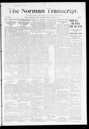 Primary view of object titled 'The Norman Transcript. (Norman, Okla.), Vol. 25, No. 7, Ed. 1 Thursday, October 16, 1913'.
