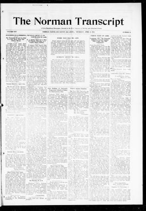 Primary view of object titled 'The Norman Transcript (Norman, Okla.), Vol. 25, No. 31, Ed. 1 Thursday, April 9, 1914'.