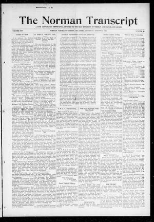 Primary view of object titled 'The Norman Transcript (Norman, Okla.), Vol. 25, No. 49, Ed. 1 Thursday, August 13, 1914'.