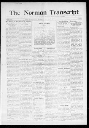 Primary view of object titled 'The Norman Transcript (Norman, Okla.), Vol. 28, No. 3, Ed. 1 Thursday, April 5, 1917'.