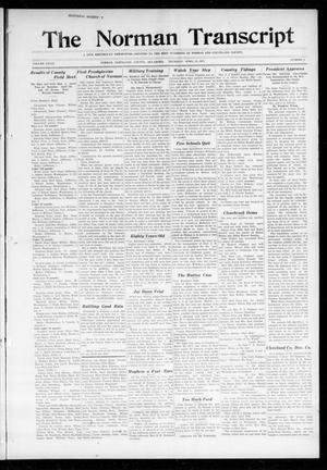 Primary view of object titled 'The Norman Transcript (Norman, Okla.), Vol. 28, No. 4, Ed. 1 Thursday, April 12, 1917'.