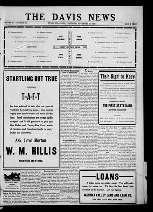 Primary view of object titled 'The Davis News (Davis, Okla.), Vol. 15, No. 13, Ed. 1 Thursday, November 12, 1908'.