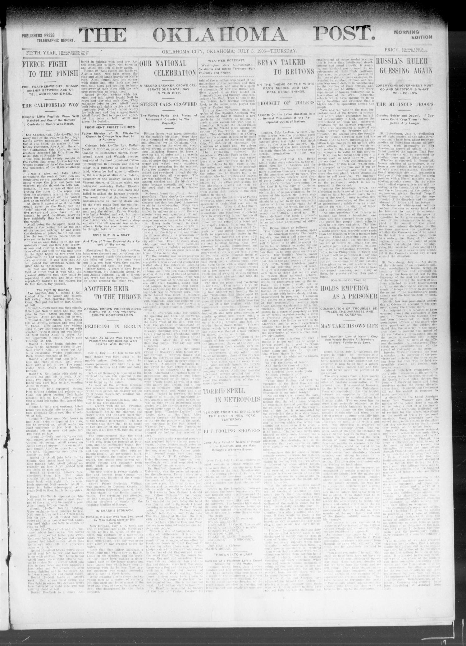 The Oklahoma Post. (Oklahoma City, Okla.), Vol. 5, No. 26, Ed. 1 Thursday, July 5, 1906                                                                                                      [Sequence #]: 1 of 8