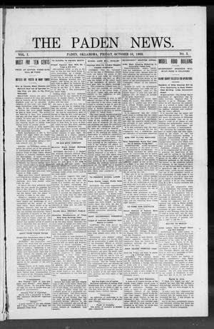 Primary view of object titled 'The Paden News. (Paden, Okla.), Vol. 1, No. 3, Ed. 1 Friday, October 16, 1908'.