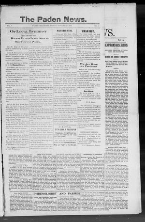 Primary view of object titled 'The Paden News. (Paden, Okla.), Vol. 1, No. 4, Ed. 1 Friday, October 23, 1908'.