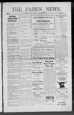 Primary view of object titled 'The Paden News. (Paden, Okla.), Vol. 1, No. 9, Ed. 1 Friday, November 27, 1908'.