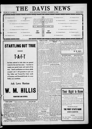 Primary view of object titled 'The Davis News (Davis, Okla.), Vol. 15, No. 17, Ed. 1 Thursday, December 10, 1908'.