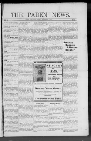 Primary view of object titled 'The Paden News. (Paden, Okla.), Vol. 1, No. 11, Ed. 1 Friday, December 11, 1908'.