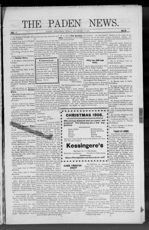 Primary view of object titled 'The Paden News. (Paden, Okla.), Vol. 1, No. 12, Ed. 1 Friday, December 18, 1908'.