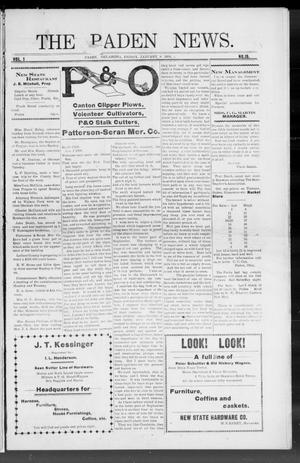 Primary view of object titled 'The Paden News. (Paden, Okla.), Vol. 1, No. 15, Ed. 1 Friday, January 8, 1909'.
