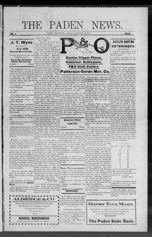 Primary view of object titled 'The Paden News. (Paden, Okla.), Vol. 1, No. 16, Ed. 1 Friday, January 15, 1909'.