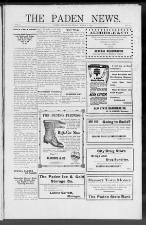 Primary view of object titled 'The Paden News. (Paden, Okla.), Vol. 1, No. 23, Ed. 1 Friday, March 5, 1909'.