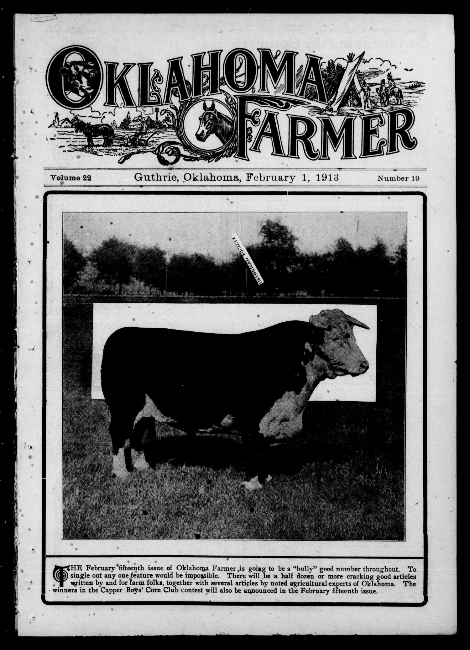 Oklahoma Farmer (Guthrie, Okla.), Vol. 22, No. 19, Ed. 1 Saturday, February 1, 1913                                                                                                      [Sequence #]: 1 of 24