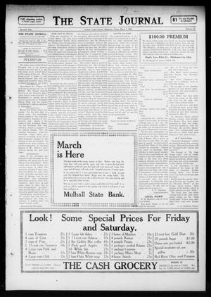 Primary view of object titled 'The State Journal (Mulhall, Okla.), Vol. 11, No. 14, Ed. 1 Friday, March 7, 1913'.