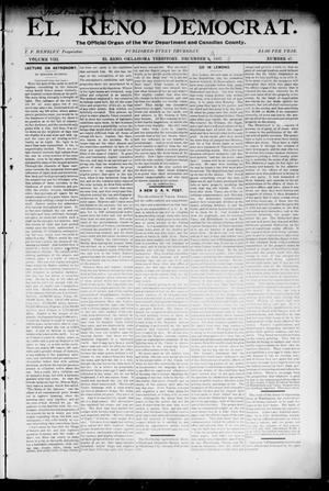 Primary view of object titled 'El Reno Democrat. (El Reno, Okla. Terr.), Vol. 8, No. 47, Ed. 1 Thursday, December 9, 1897'.