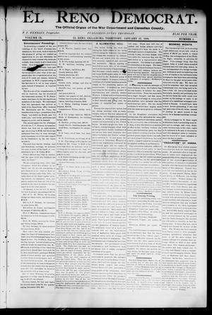 Primary view of object titled 'El Reno Democrat. (El Reno, Okla. Terr.), Vol. 9, No. 2, Ed. 1 Thursday, January 27, 1898'.
