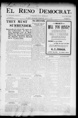 Primary view of object titled 'El Reno Democrat. (El Reno, Okla. Terr.), Vol. 9, No. 26, Ed. 1 Thursday, July 14, 1898'.