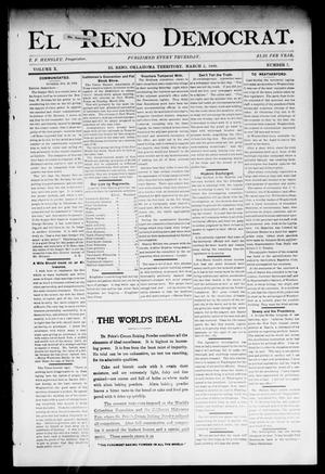 Primary view of object titled 'El Reno Democrat. (El Reno, Okla. Terr.), Vol. 10, No. 7, Ed. 1 Thursday, March 2, 1899'.