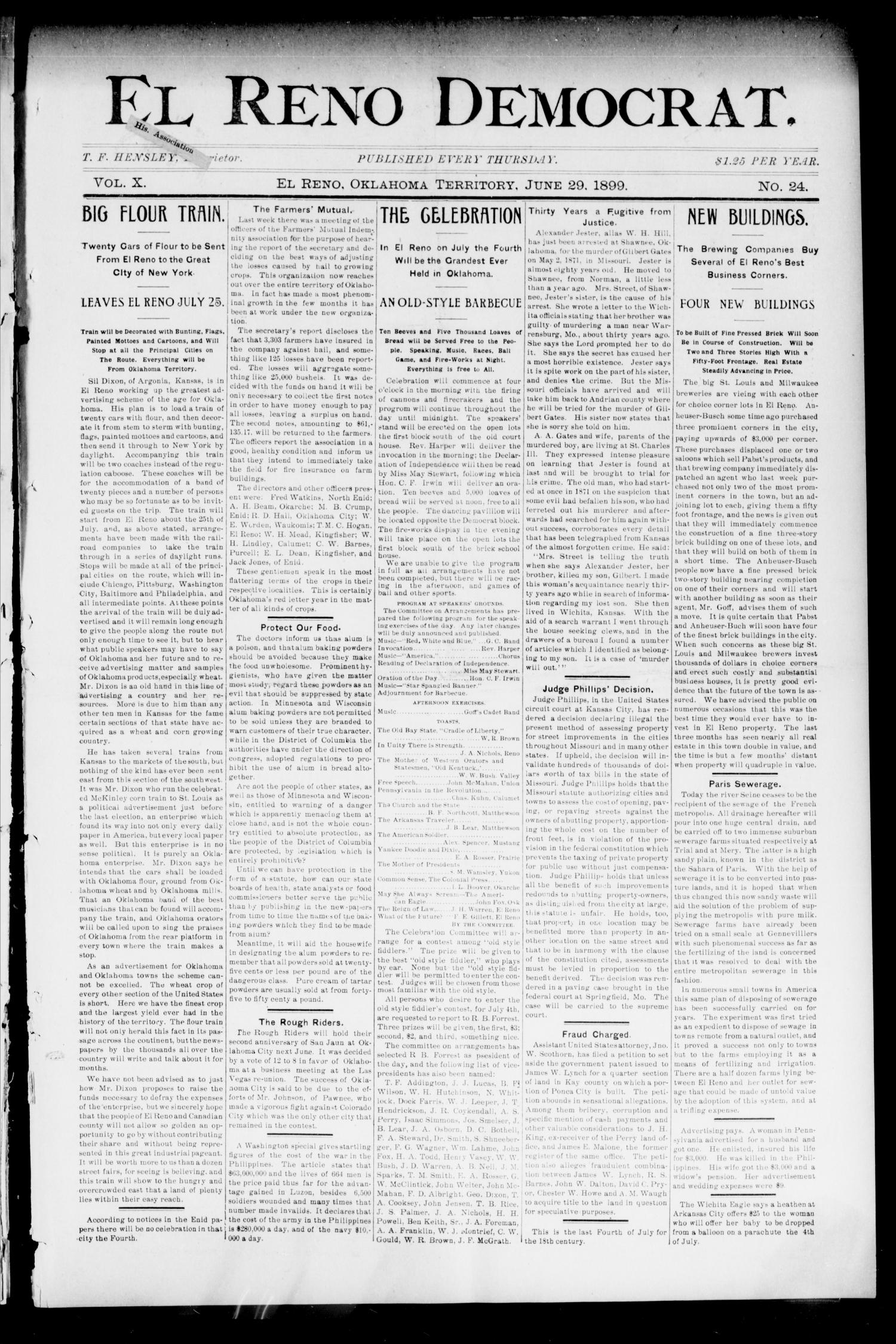 El Reno Democrat. (El Reno, Okla. Terr.), Vol. 10, No. 24, Ed. 1 Thursday, June 29, 1899                                                                                                      [Sequence #]: 1 of 8