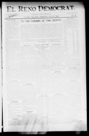Primary view of object titled 'El Reno Democrat. (El Reno, Okla. Terr.), Vol. 10, No. 28, Ed. 1 Thursday, July 27, 1899'.