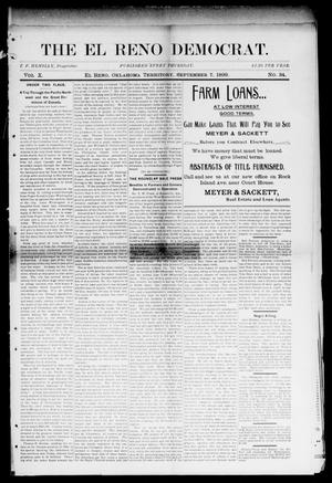 Primary view of object titled 'The El Reno Democrat. (El Reno, Okla. Terr.), Vol. 10, No. 34, Ed. 1 Thursday, September 7, 1899'.
