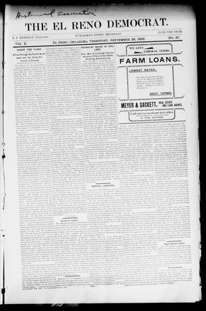 Primary view of object titled 'The El Reno Democrat. (El Reno, Okla. Terr.), Vol. 10, No. 37, Ed. 1 Thursday, September 28, 1899'.