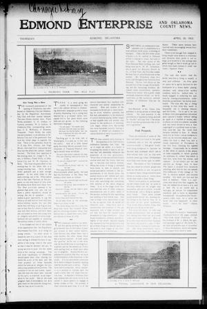 Primary view of object titled 'Edmond Enterprise and Oklahoma County News. (Edmond, Okla.), Vol. 1, No. 13, Ed. 1 Thursday, April 30, 1903'.