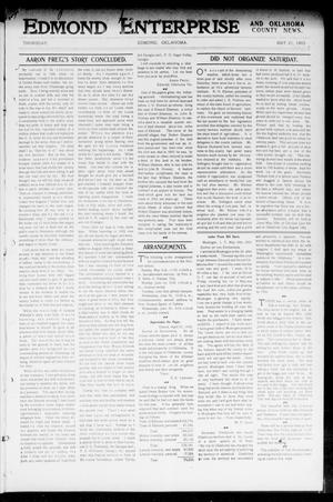 Primary view of object titled 'Edmond Enterprise and Oklahoma County News. (Edmond, Okla.), Vol. 1, No. 16, Ed. 1 Thursday, May 21, 1903'.