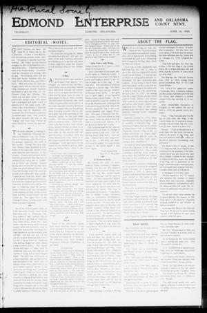 Primary view of object titled 'Edmond Enterprise and Oklahoma County News. (Edmond, Okla.), Vol. 1, No. 20, Ed. 1 Thursday, June 18, 1903'.