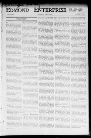 Primary view of object titled 'Edmond Enterprise and Oklahoma County News. (Edmond, Okla.), Vol. 1, No. 21, Ed. 1 Thursday, June 25, 1903'.
