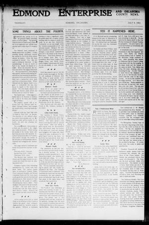 Primary view of object titled 'Edmond Enterprise and Oklahoma County News. (Edmond, Okla.), Vol. 1, No. 23, Ed. 1 Thursday, July 9, 1903'.