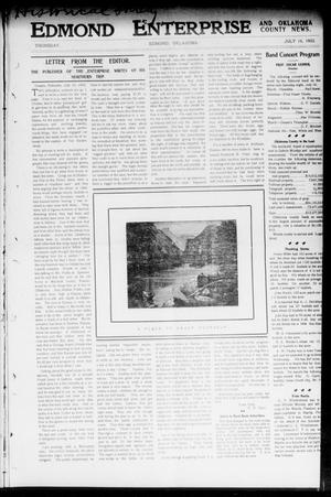 Primary view of object titled 'Edmond Enterprise and Oklahoma County News. (Edmond, Okla.), Vol. 1, No. 24, Ed. 1 Thursday, July 16, 1903'.