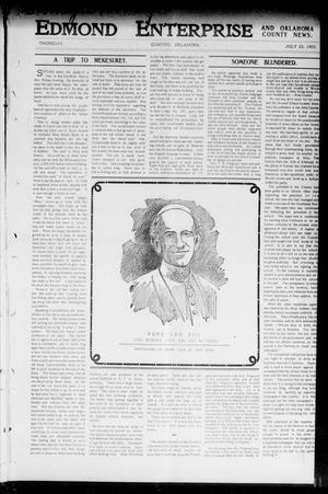 Primary view of object titled 'Edmond Enterprise and Oklahoma County News. (Edmond, Okla.), Vol. 1, No. 25, Ed. 1 Thursday, July 23, 1903'.