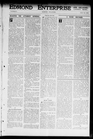 Primary view of object titled 'Edmond Enterprise and Oklahoma County News. (Edmond, Okla.), Vol. 1, No. 26, Ed. 1 Thursday, July 30, 1903'.