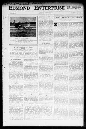 Primary view of object titled 'Edmond Enterprise and Oklahoma County News. (Edmond, Okla.), Vol. 1, No. 27, Ed. 1 Thursday, August 6, 1903'.