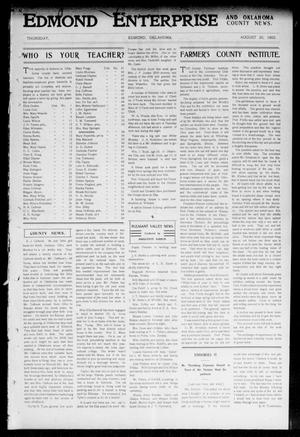 Primary view of object titled 'Edmond Enterprise and Oklahoma County News. (Edmond, Okla.), Vol. 1, No. 29, Ed. 1 Thursday, August 20, 1903'.