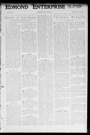 Primary view of object titled 'Edmond Enterprise and Oklahoma County News. (Edmond, Okla.), Vol. 1, No. 30, Ed. 1 Thursday, August 27, 1903'.