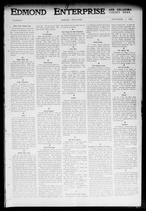 Primary view of object titled 'Edmond Enterprise and Oklahoma County News. (Edmond, Okla.), Vol. 1, No. 31, Ed. 1 Thursday, September 3, 1903'.