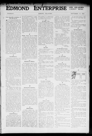 Primary view of object titled 'Edmond Enterprise and Oklahoma County News. (Edmond, Okla.), Vol. 1, No. 32, Ed. 1 Thursday, September 10, 1903'.