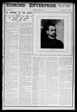 Primary view of object titled 'Edmond Enterprise and Oklahoma County News. (Edmond, Okla.), Vol. 1, No. 35, Ed. 1 Thursday, October 1, 1903'.