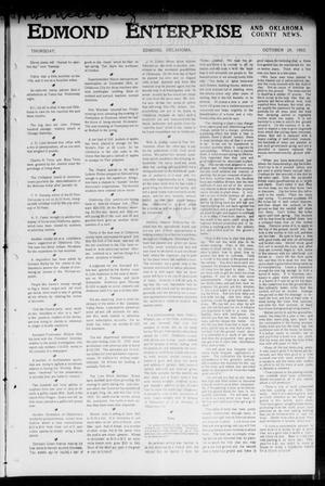 Primary view of object titled 'Edmond Enterprise and Oklahoma County News. (Edmond, Okla.), Vol. 1, No. 39, Ed. 1 Thursday, October 29, 1903'.