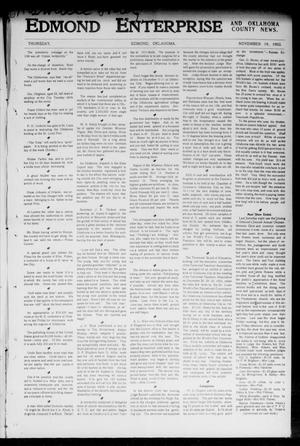 Primary view of object titled 'Edmond Enterprise and Oklahoma County News. (Edmond, Okla.), Vol. 1, No. 42, Ed. 1 Thursday, November 19, 1903'.