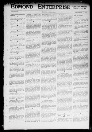 Primary view of object titled 'Edmond Enterprise and Oklahoma County News. (Edmond, Okla.), Vol. 1, No. 44, Ed. 1 Thursday, December 3, 1903'.