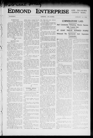 Primary view of object titled 'Edmond Enterprise and Oklahoma County News. (Edmond, Okla.), Vol. 1, No. 50, Ed. 1 Thursday, January 14, 1904'.