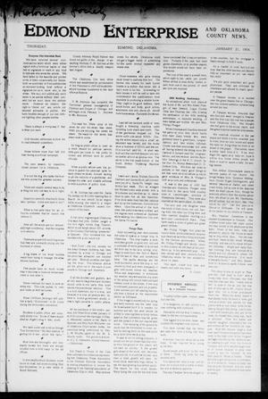 Primary view of object titled 'Edmond Enterprise and Oklahoma County News. (Edmond, Okla.), Vol. 1, No. 51, Ed. 1 Thursday, January 21, 1904'.