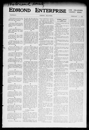 Primary view of object titled 'Edmond Enterprise and Oklahoma County News. (Edmond, Okla.), Vol. 1, No. 53, Ed. 1 Thursday, February 4, 1904'.
