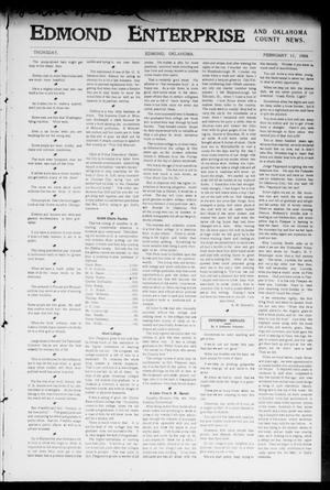 Primary view of object titled 'Edmond Enterprise and Oklahoma County News. (Edmond, Okla.), Vol. 1, No. 54, Ed. 1 Thursday, February 11, 1904'.