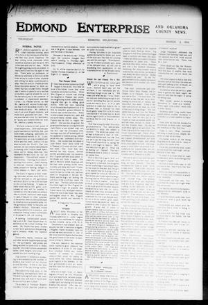 Primary view of object titled 'Edmond Enterprise and Oklahoma County News. (Edmond, Okla.), Vol. 1, No. 57, Ed. 1 Thursday, March 3, 1904'.