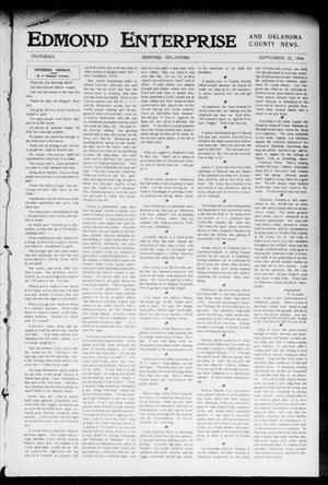 Primary view of object titled 'Edmond Enterprise and Oklahoma County News. (Edmond, Okla.), Vol. 1, No. 86, Ed. 1 Thursday, September 22, 1904'.